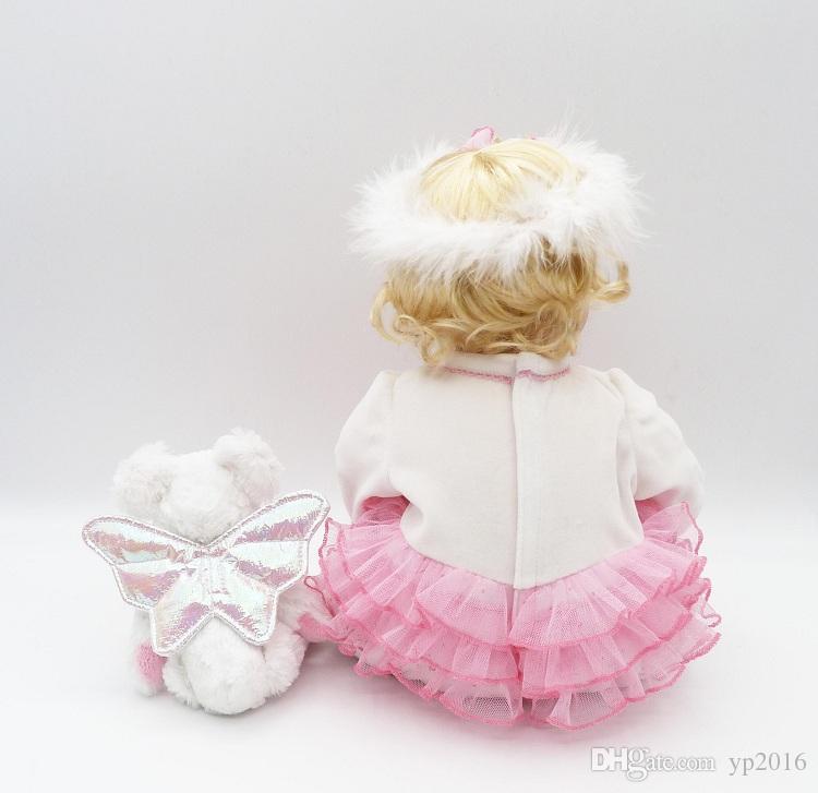 22 pollici Realistici Cotton Body Babies Silicone morbido Realistic Reborn Baby Dolls Peso ponderato bambine
