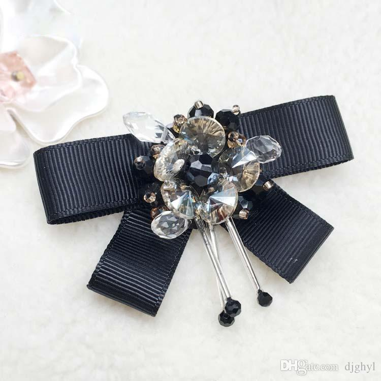 Pins And Brooch Women Pin Brooches Real Ribbon Trendy Broches Jewelry Fashion Bow Brooch Vintage Collar Pin Corsage Shirt Collar Flower Tie