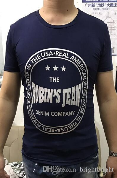 New Wholesale-Men's Summer Mens Robin Jeans T Shirts American Jeans T-Shirt For Men Cotton T-Shirts Tees Robin Jeans Clothing M-3X