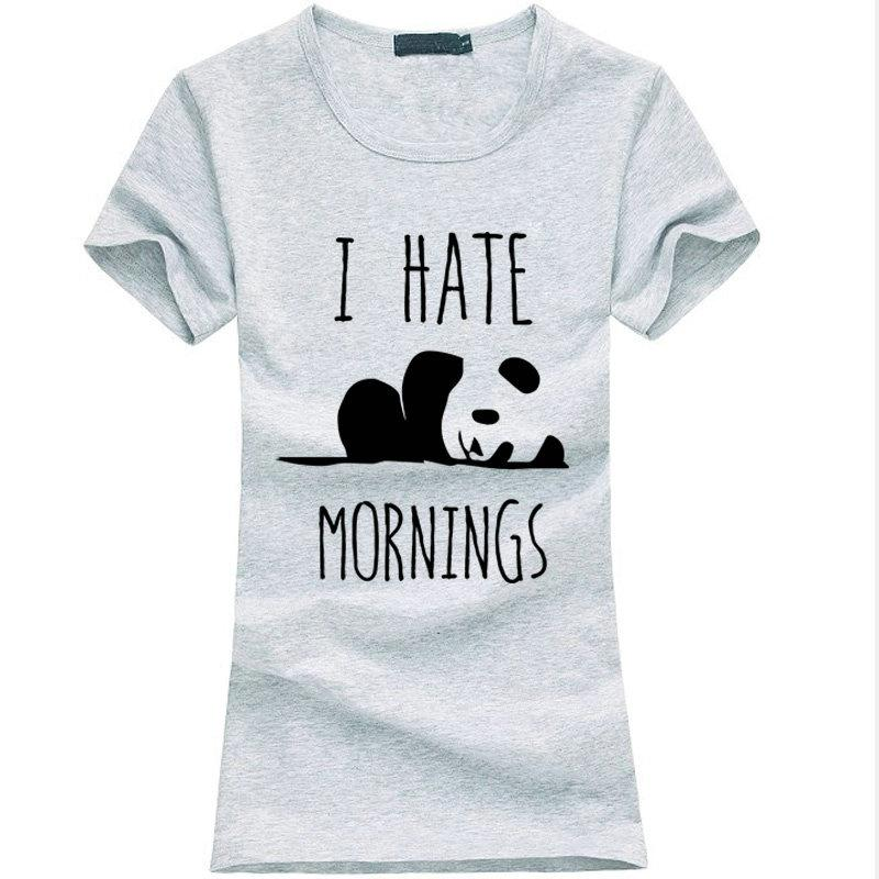 86aedf55be63 Acquista Kawaii Panda Print T Shirt Donna I Hate Mornings Cotton Casual  Funny T Shirt Lady Grey Maglietta Da Donna Punk Female T Shir A  11.01 Dal  Bstdhgate ...