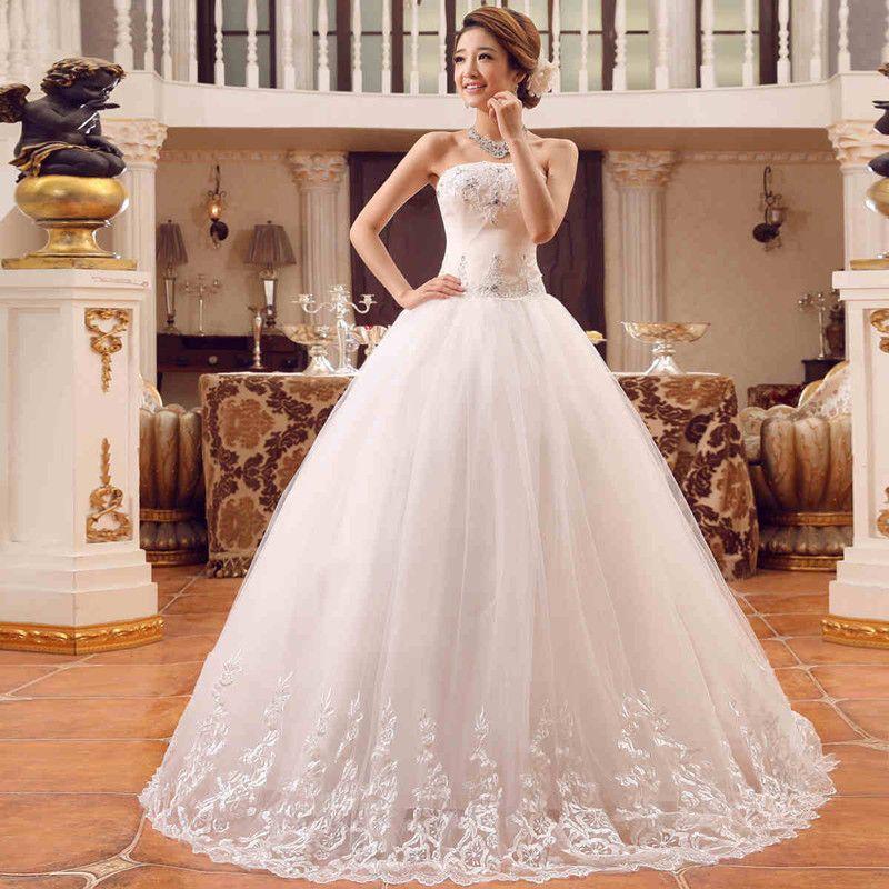Classic White Bride Sexy A Line Wedding Dresses Strapless