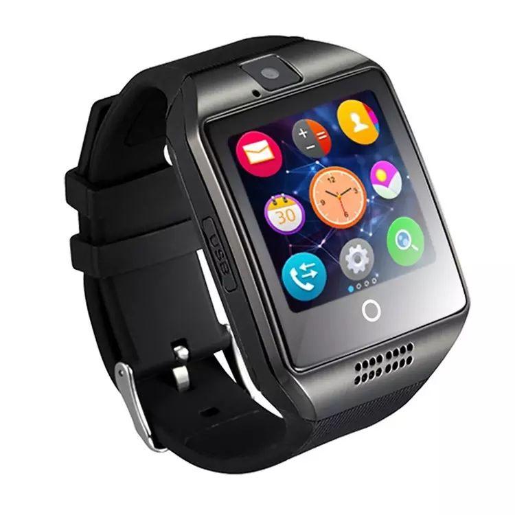 Q18 Smart Watch Bluetooth Pantalla curva usable Soporte de alta calidad NFC SIM GSM Cámara de Facebook para Android IOS Phone Wristwatch SB-Q18