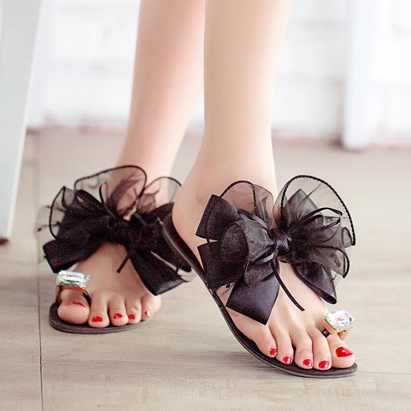 a97af4fe2cabe7 Wholesale 2015 Summer Ladies Bowtie Flower Sandals Sexy Casual Fashion  Female Beach Flip Flops Women Big Rhinestone Slippers Shoes K234 Brown  Wedges Gold ...