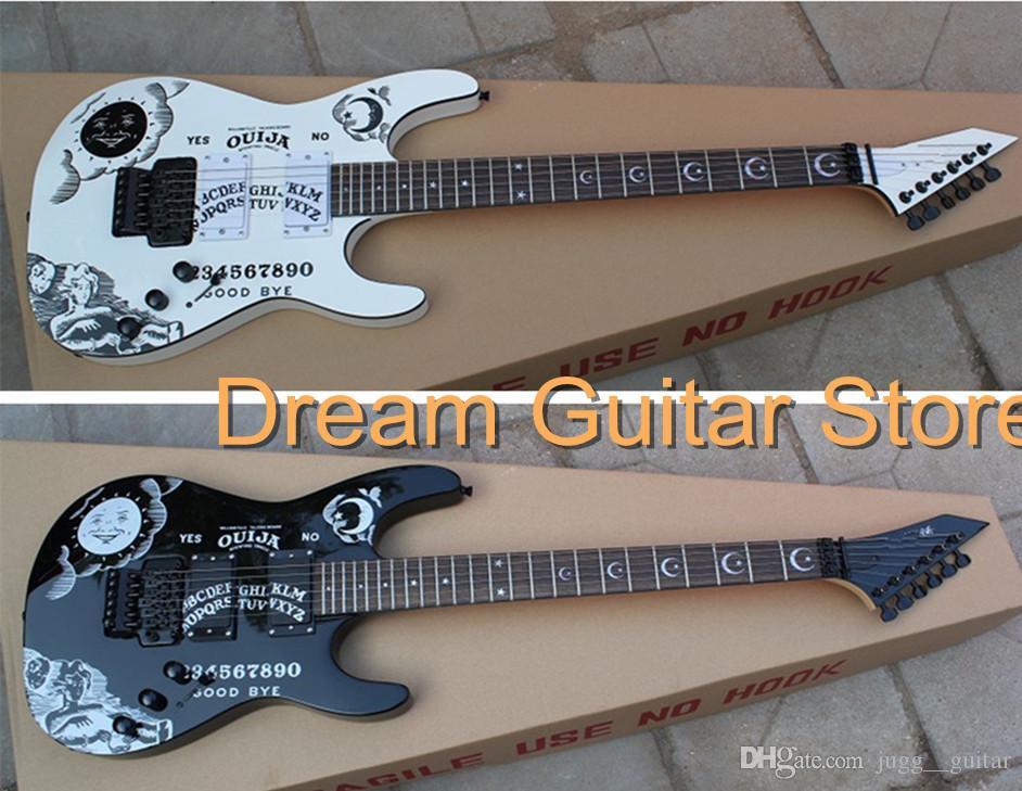 ltd kirk hammetts black white kh 2 ouija electric guitar star moon fingerboard inlay floyd. Black Bedroom Furniture Sets. Home Design Ideas