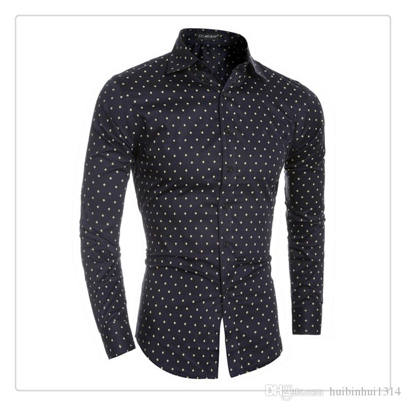 2017 Designer Shirts Men 100% Cotton Small Plane Printing Men'S ...