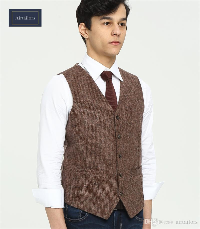 Brand Farm Wedding Brown Herringbone Wool Tweed Vests Custom Made Groom s  Suit Vest Slim Wedding Vest For Men Plus Size Tuxedo Waistcoat Men Prom  Waistcoat ... fc6131e4cbe3