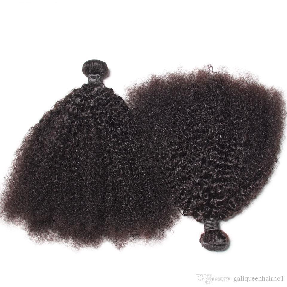 Brasileira Virgem Do Cabelo Humano Afro Kinky Curly Onda Não Transformados Remy Do Cabelo Tece Duplo Wefts 100g / Bundle 2 feixes / lote Pode ser Tingido Branqueada