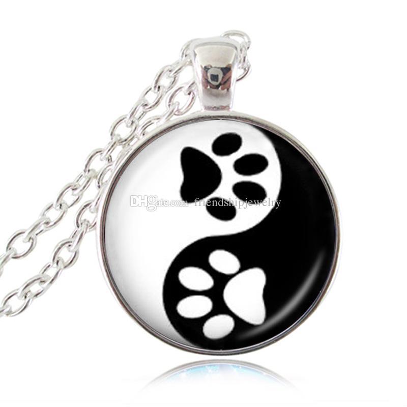 Yin Yang Collana Pet Zampa Stampa Ciondolo Handprint Art Charm Tai Ji Gioielli Zen Religioso Ying Yang Collana Regali Cane Amante degli animali