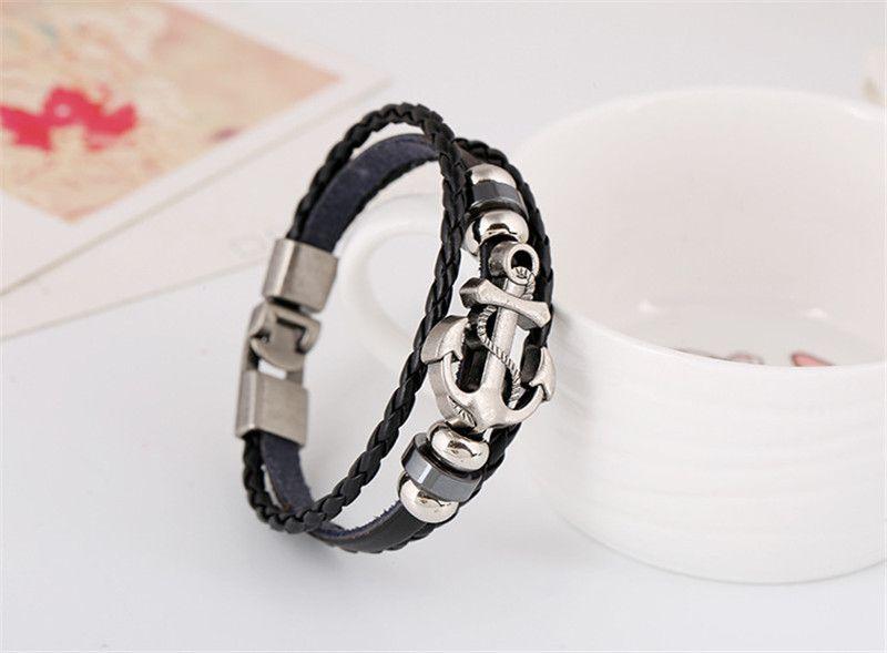 Anchor Alloy Genuine Leather Bracelets Men Women Casual Personality PU Woven Beaded Bracelet Vintage Punk Bracelet Fashion Jewelry