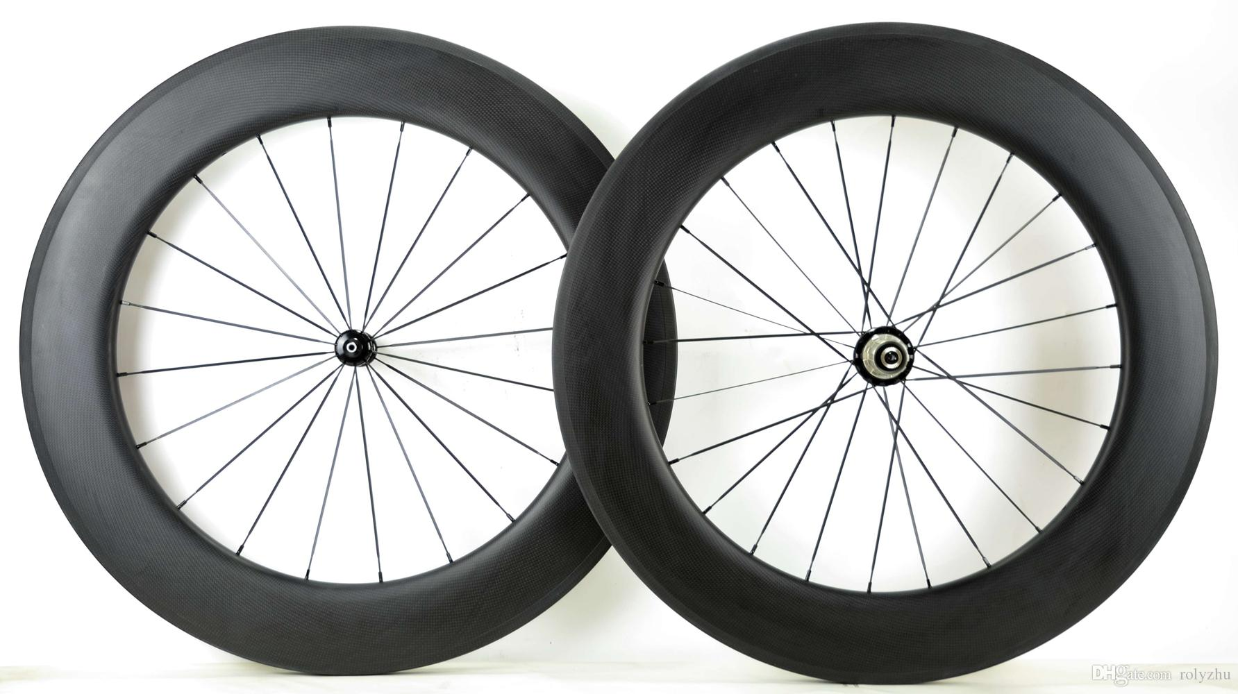 U Shape 88mm Clincher carbon road bicycle wheel Rim 23mm 25mm rim width gift