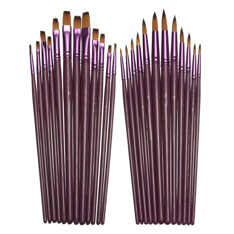 12 unids / lote Tamaño Diferente Artista Fine Nylon Pincel de Pelo Set Para Acrílico Acrílico Pinceles de Pintura Al Óleo Dibujo Arte Supplie