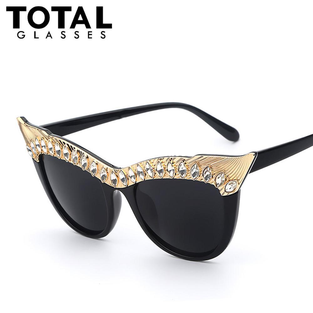 Großhandel Totalglasses 2016 Kristall Stein Oversized Cat Eye Rahmen ...