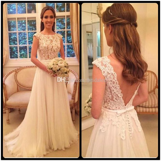 b7b269e8dfce Discount Vestido Noiva Elegant Country Wedding Dresses 2017 Lace Sheer Cap  Sleeve Scoop Neck A Line Chiffon Bridal Gowns Dress Dresses From Bridalee,  ...