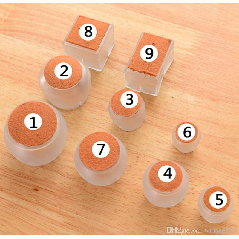 Silicone Durabel Rectangle Square Round Non-slip Chair Leg Caps Pads Furniture Dinning Table Feet Covers Wood Floor Protectors