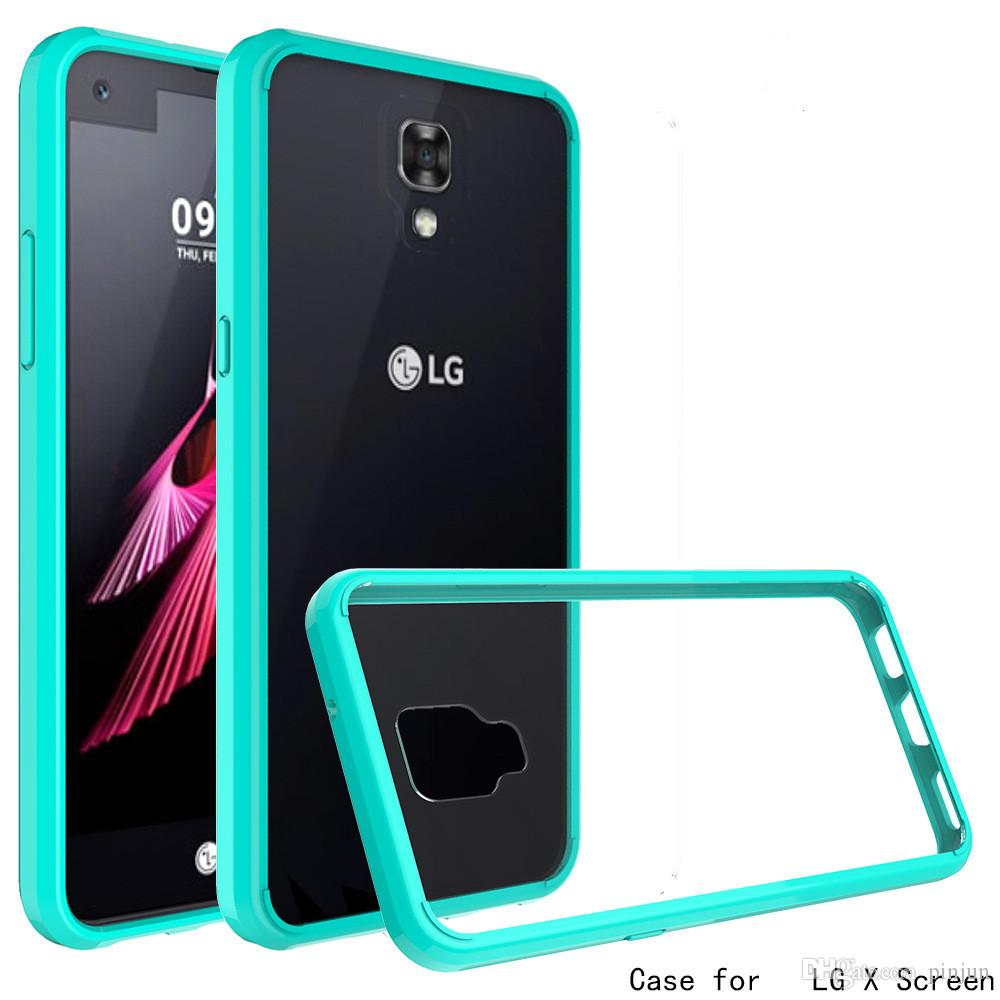 Armor case For LG X Screen K8 K10 K5 Mobile cover ultra-thin invisible tpu+pC acrylic crystal shell sets protective sleeve Cell Phone