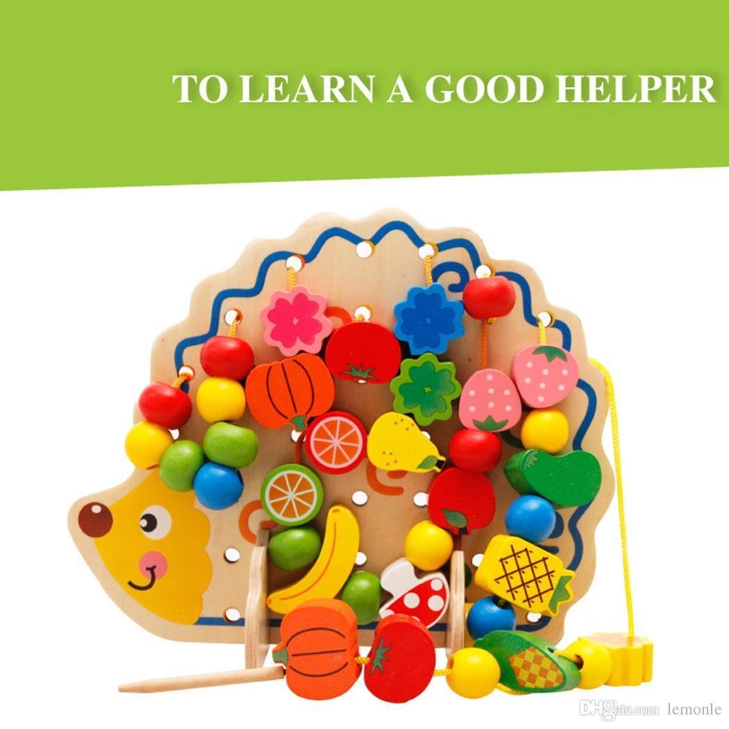 Aprendizagem Educação Brinquedos De Madeira Ouriço Frutas Contas Montessori Oyuncak Educacional Brinquedo Para Crianças