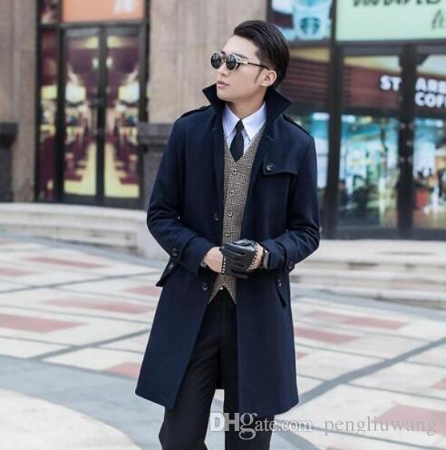 Manteaux en laine de coton à la longue et moyenne longueur manteaux et manteaux hommes slim laine à l'hiver manteaux de tranchée à ventre unique S