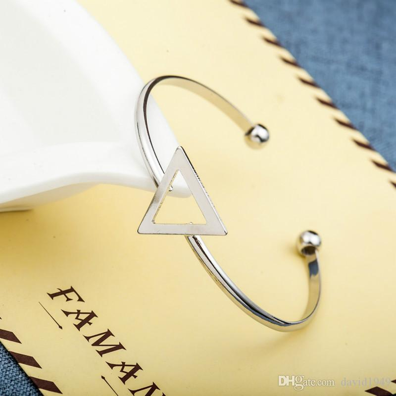 Hollowed Out Triangle Charm Bangles Women Adjustable Opening Bracelets Gold SIlver Black Alloy Bracelets Geometric Bangles