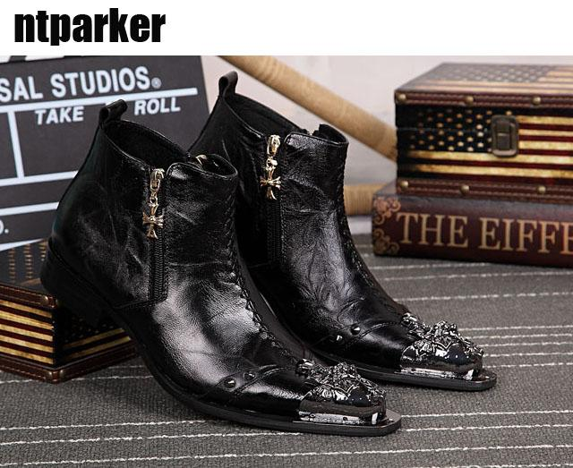 12bfb2faf0c Limited Edition Italian Style Leather Ankle Boots For Man Rock Fashion Punk  Rivet Pointed Toe Ankle Boots Man Boots Brown Boots Winter Boots For Women  From ...