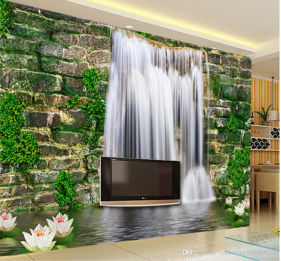 fashion 3d home decor beautiful stone wall waterfall 3d tv wall 3d