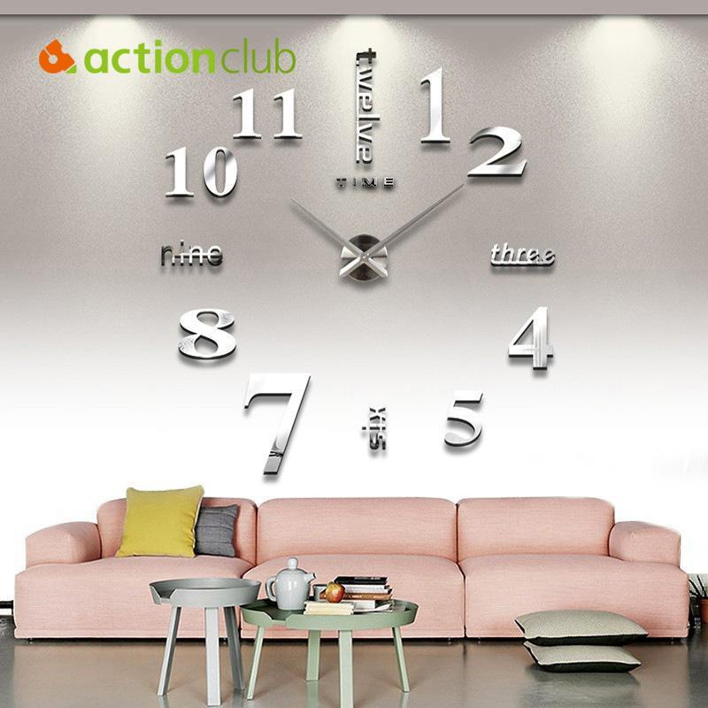 Wholesale- Actionclub Home Decor Wall Clocks Supplies DIY Acrylic+ ...