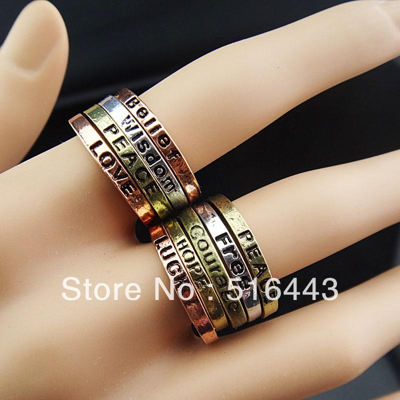 10pcs Wholesale Jewelry Lots Antique Bronze Silver Copper Fashion Mix Words Rings Free Shipping A-731