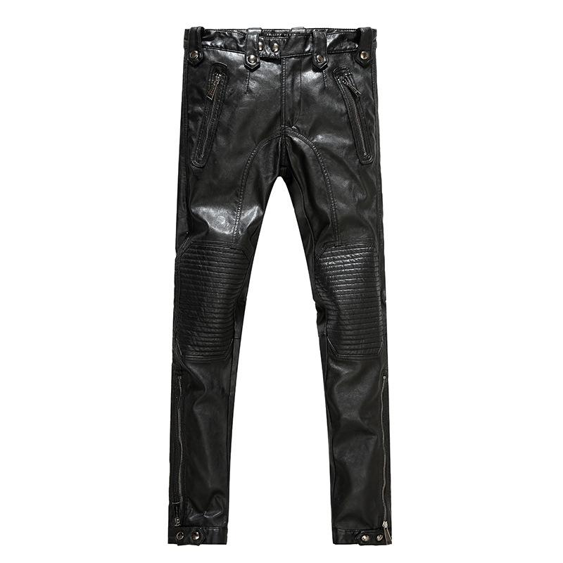 6a8238bcac407a Wholesale- Men's Leather Pants Men's Motorcycle Leather Pants ...