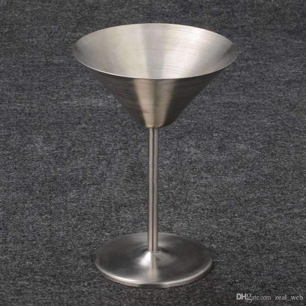 Martini stainless steel wine glasses 220ml red wine cup whiisky alcohol cups cocktail wine goblet party wedding pub Champagne glass 7