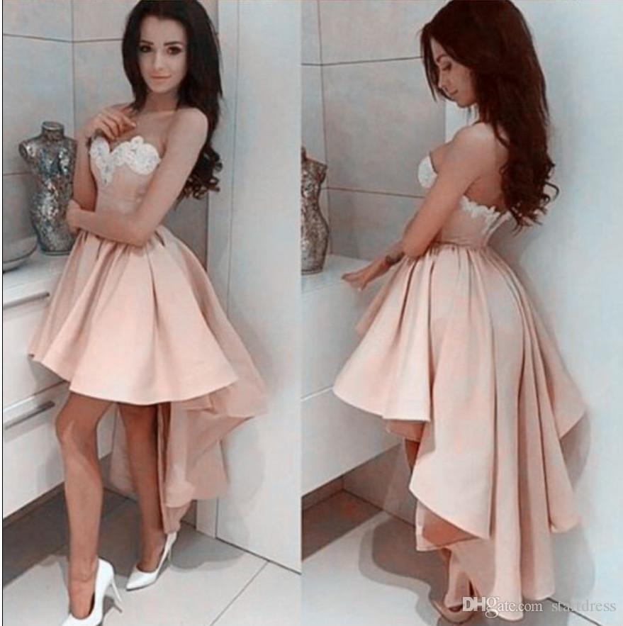 Uroczy Różowy Niski Prom Dress Sexy Sweetheart Aplikacja Satynowa Suknie Wieczorowe 2K15 Tanie krótkie sukienki z eleganckimi formalnymi sukienkami