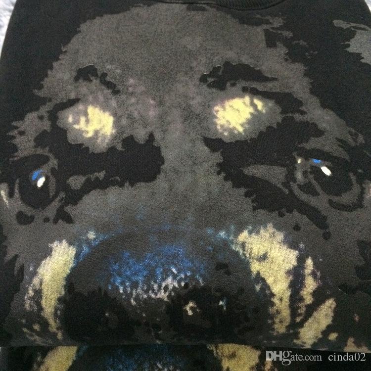 Nuovo Autunno Inverno Moda Uomo Felpe con cappuccio casual maschile Fleece testa di cane Stampato Mens Felpa