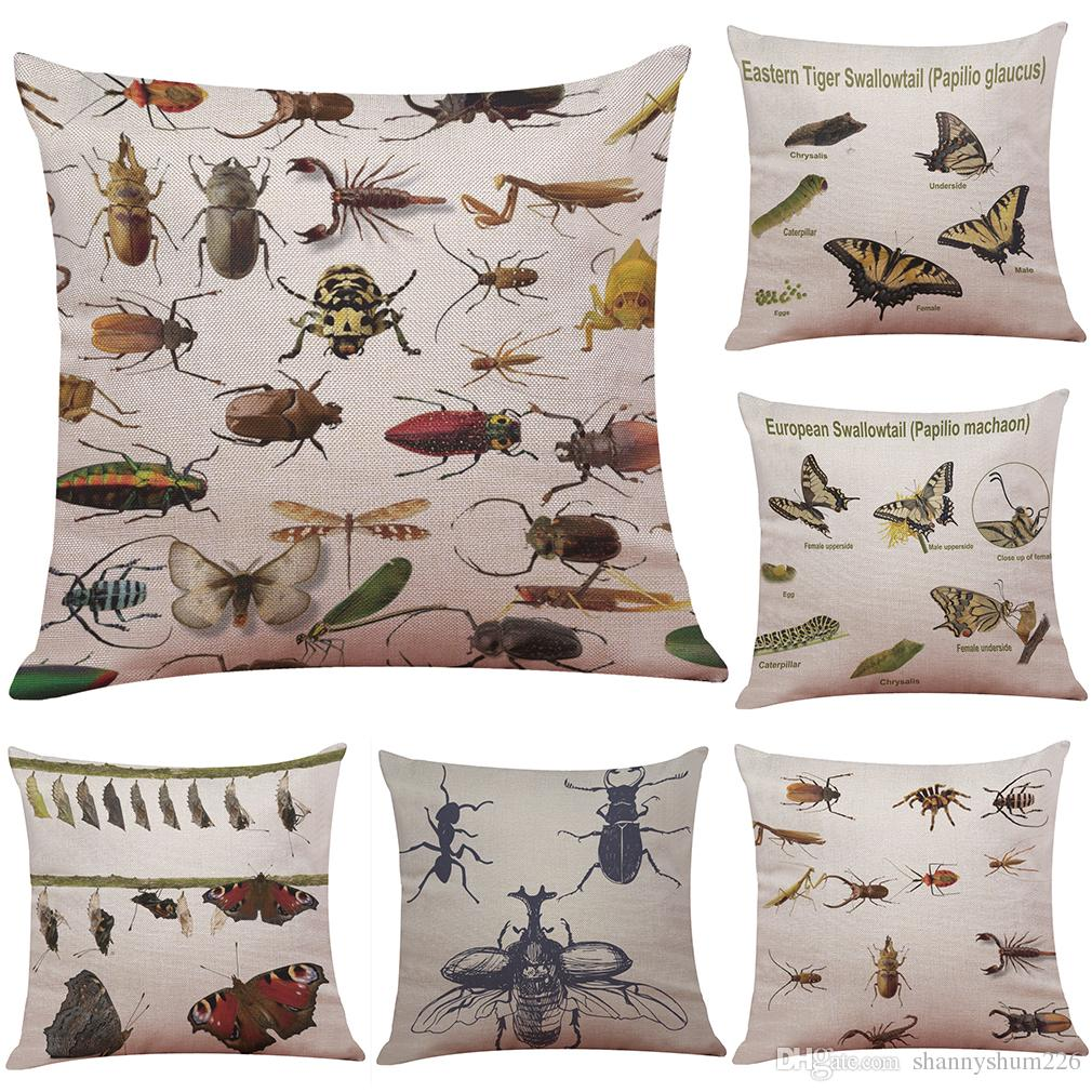Insect Elements Linen Cushion Cover Home fice Sofa Square Pillow