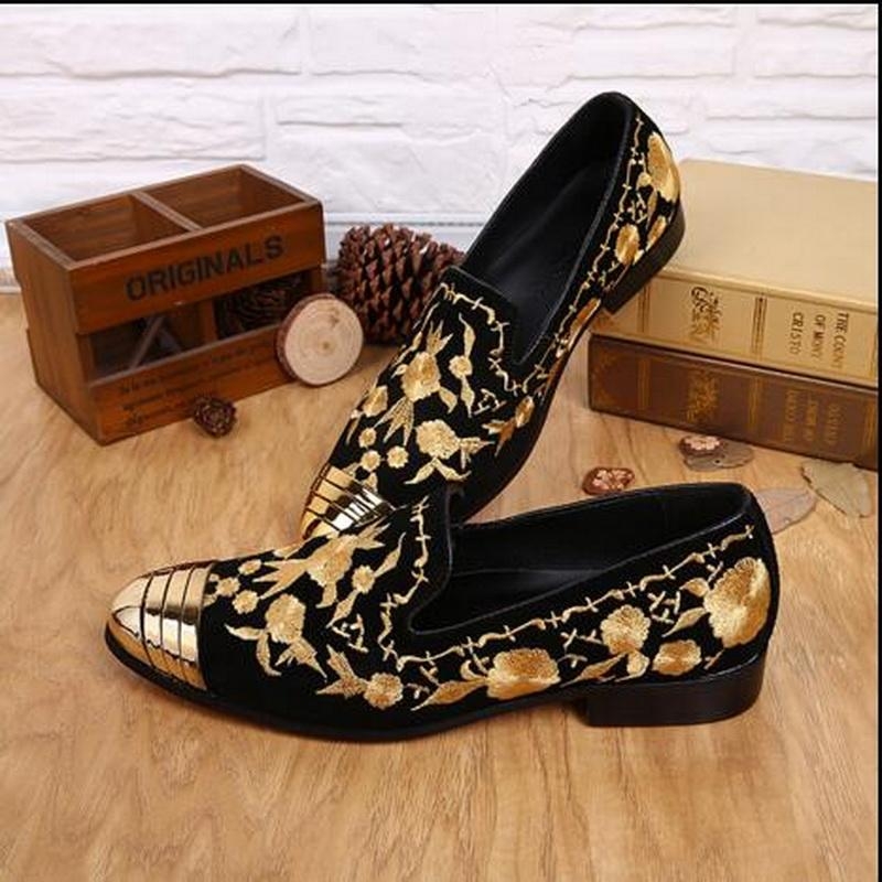 69f332b61ca9 2017 New Men s Shoes Fashion Slip-on Korean Embroidery Leather Iron ...