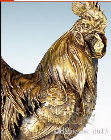 Vintage CRAFTS ARTS Bronze Statue Cock Antique metal Rooster Sculpture Home Ornaments Lucky Money Feng shui Mascot