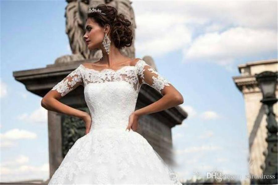 섹시한 어깨 짧은 소매 아플리케가 뒷 가운 드 모아지 가운을 통해 vectido de novia 빈티지 레이스 웨딩 드레스
