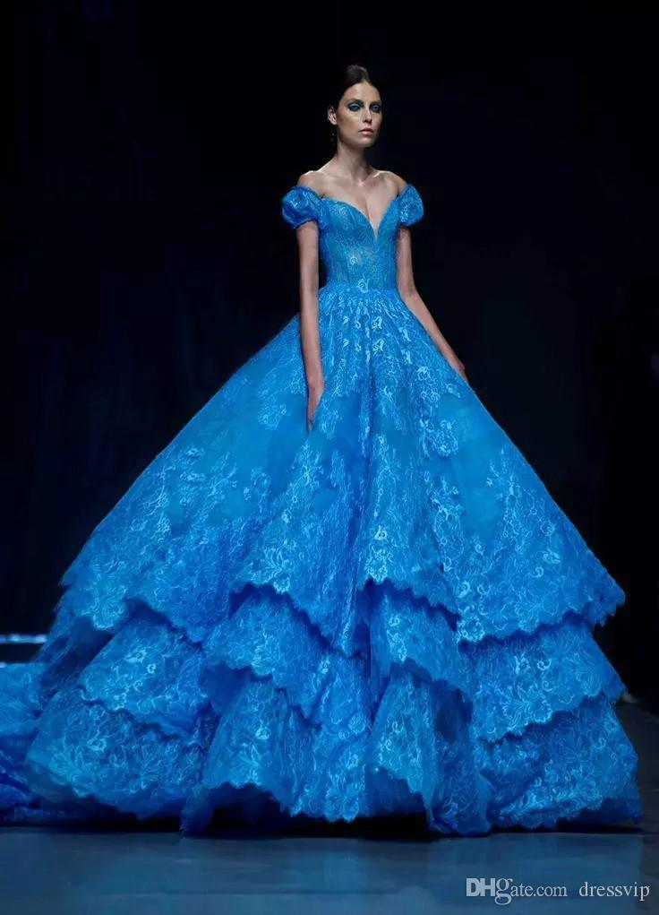 Discount cinderella in michael cinco blue wedding dress for Cheap wedding dresses in dubai