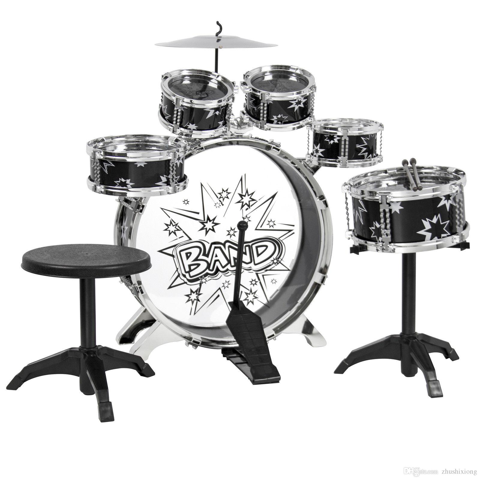 2019 Kids Drum Set Kids Toy With Cymbals Stands Throne Black Silver