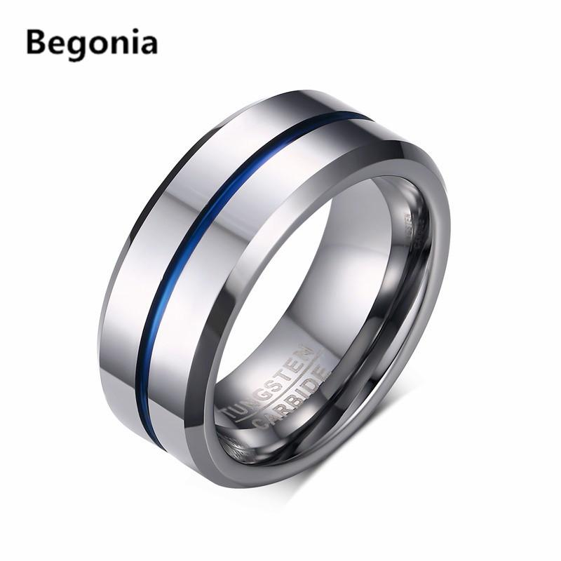 fashion mens tungsten carbide rings for men matte wedding band with silver blue groove inner biker jewelry pearl engagement rings matching wedding bands - Biker Wedding Rings