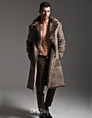 aaa26e761e Black black Grey warm casual Sided wear long faux fur coat mens leather jacket  men trench coats Villus winter thermal outerwear 65656666+++