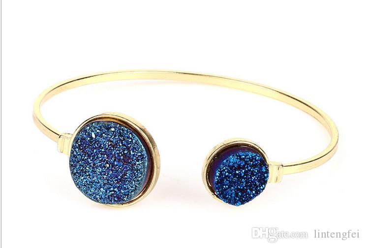 Fashion crystal bracelet Europe and the United States natural agate crystal tooth gold plating exquisite bracelet adorn article jewelry