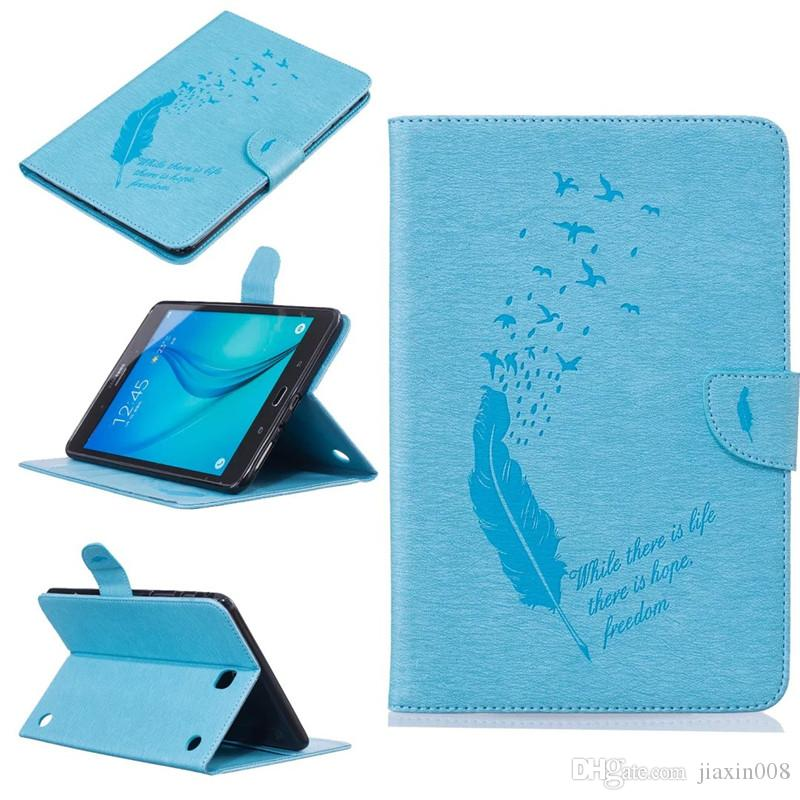 """For Samsung Galaxy Tab A 8.0"""" T350 T355 Tablet Leather Case Filp Cover Wallet Stand With Card Slot Embossed Feather bird Desgin"""