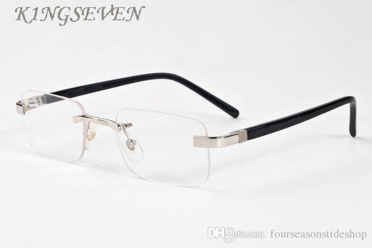 2020 고글 선글라스 하프 프레임 물소 뿔 상자 명확한 렌즈 lunettes 남성 고품질의 안경 패션 선글라스 안경