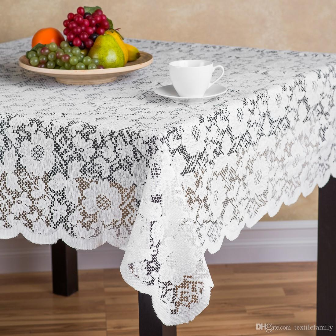 Polyester Round Rose Lace Tablecloths Square Lace Table