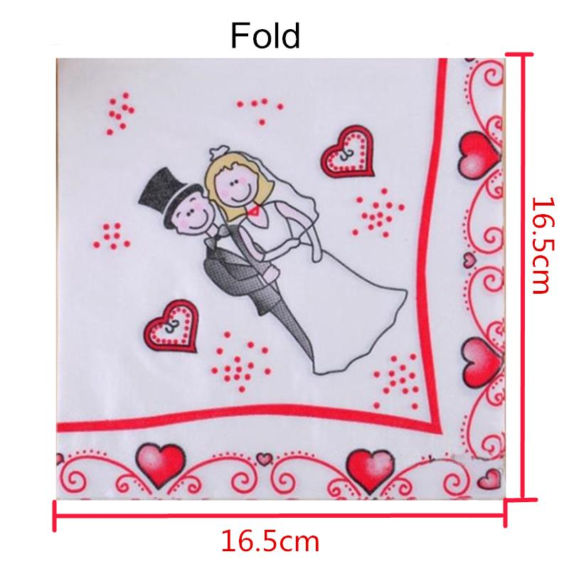 20pcs/Pack Bride And Groom Wedding Decorative Paper Napkins Happy Party Table Decor Tissues Towel Tableware Happiness Supplies