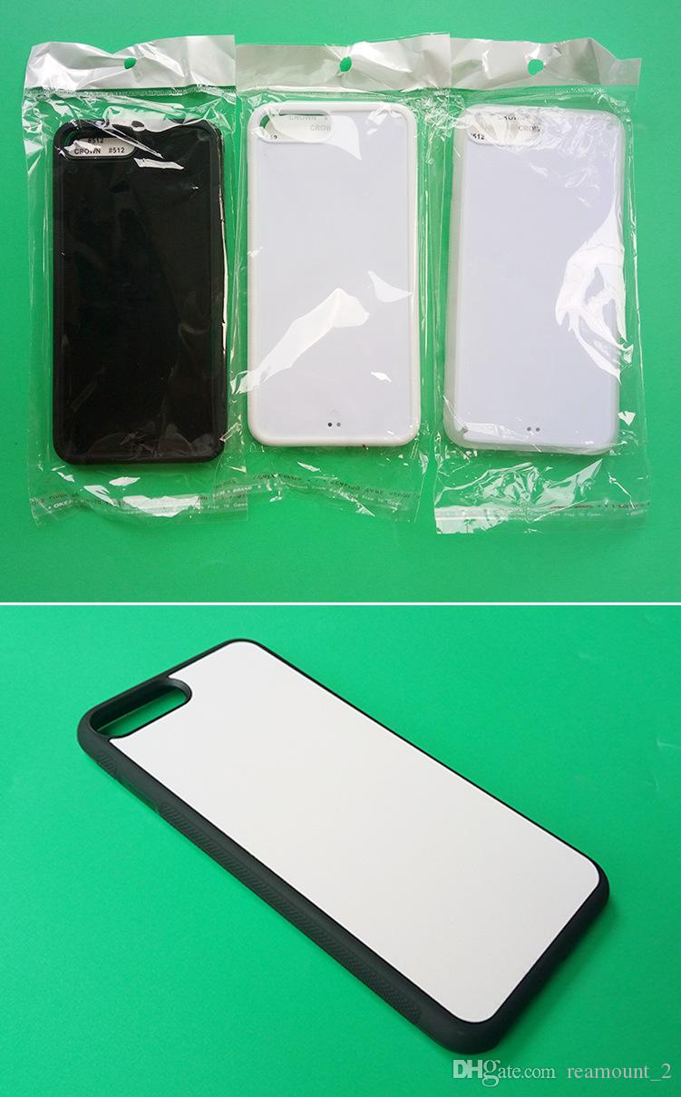 Wholesale 2D Sublimation Cases For iPhone 7 7plus DIY Style Hard PC Back Covers with Aluminium Metal Blank Insert