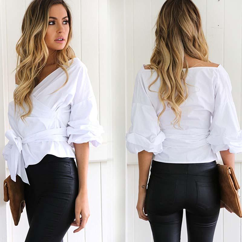 2017 Women Fashion White Ruffles Blouse V Neck Ladies Elegant Tops ...