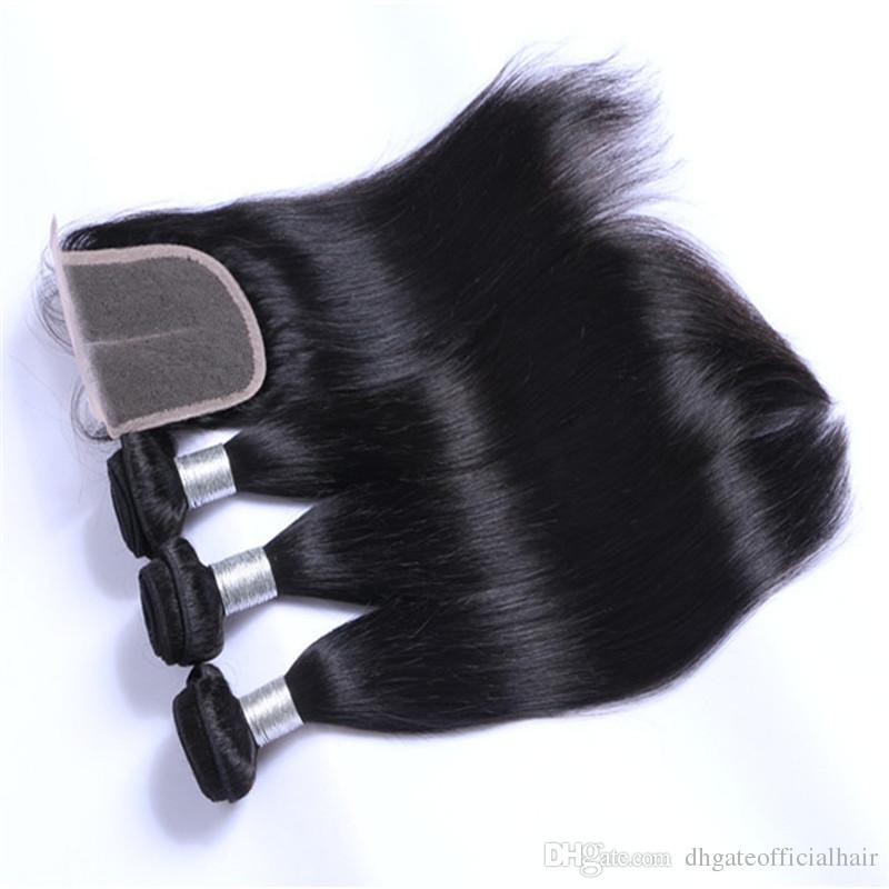Brasileiro malaio Onda Do Corpo de Seda Em Linha Reta Onda Solta Extensões de Cabelo Humano 3 Feixes de Cabelo Humano Feixes de cabelo peruano tece encerramento