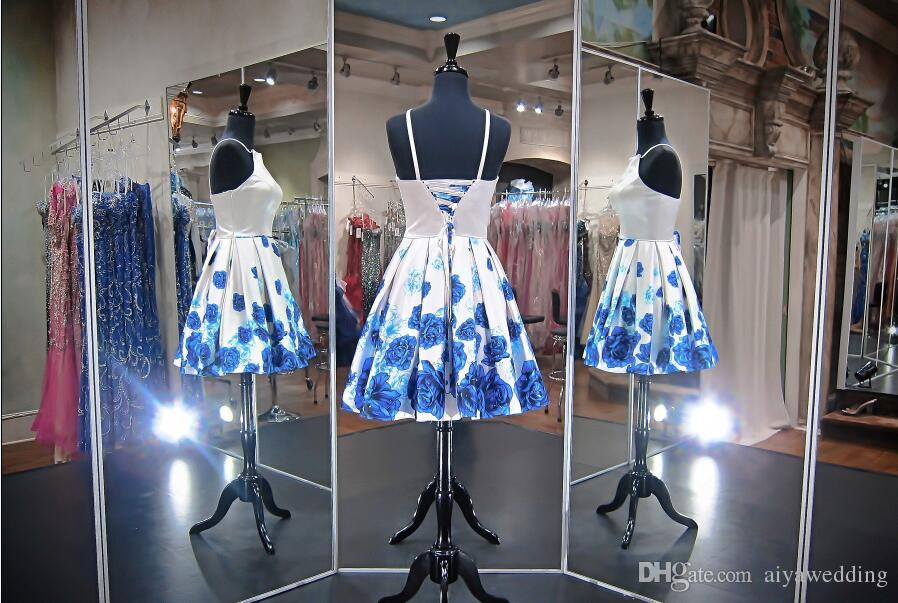 Sleeveless Short Prom Dresses White A Line Knee Length with Blue Floral Printed Satin Corset Homecoming Cocktail Party Gowns Cheap 2019