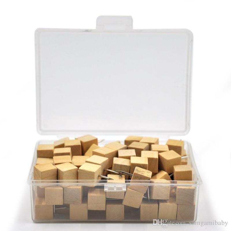 100 قطعة مربعة الخشب خشبية دبابيس دفع الإبهام المسامير الزخرفية لوحات الفلين خريطة صور التقويم مع صندوق