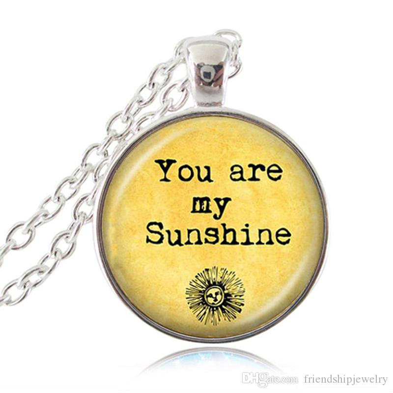 Vous êtes mon rayon de soleil lettres pendentif coloré citation collier mots bijoux en verre cabochon photo tour de cou femmes sans cou accessoires de mode