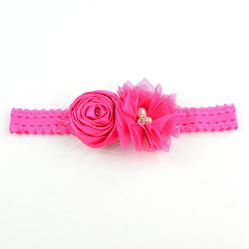 O envio gratuito de 12 pçs / lote Handmade Cabeça Banda Elastic Lace Headband com Flor de Tule e Rose Bud Baby Girl Cabelo Desgaste Presente de Natal FD190